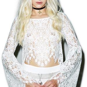 WHITE FOR LOVE & LEMONS VIKA TOP; SIZE: XSMALL
